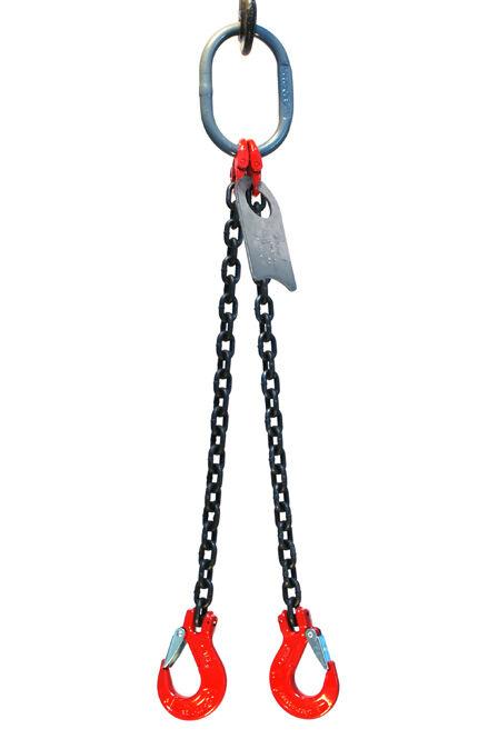 "3/8"" 5 Foot Grade 80 DOS Double Leg Lifting Chain Sling - Oblong Sling Hook"