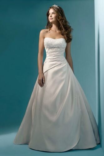 Ivory Satin Wedding Dress Size 14 UK Seller