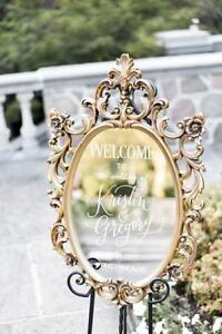 Mirror Seating Charts, Table No and Wedding Signage Rentals