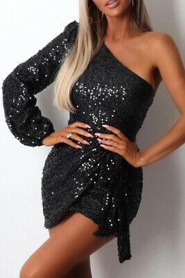 Black Sequin Lined One Shoulder Lantern Sleeve Tie Waist Mini Dress Size MEDIUM