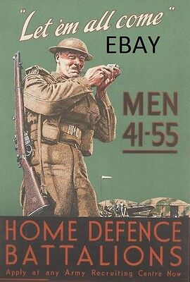 WW2 ARMY HOME DEFENCE BATTALIONS HOME GUARD POSTER NEW A4 PRINT