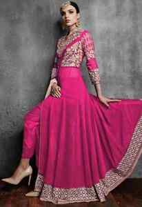 Indian Suit-Embroidered Georgette Abaya Suit, Fuschia