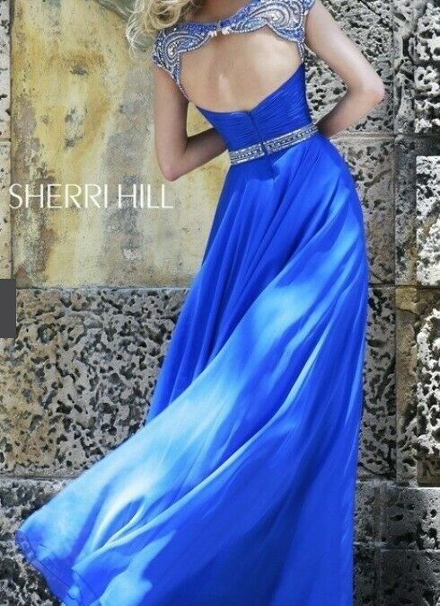 Blue Sherri Hill Dress, Size 8 (Style #11181) Pageant Prom Homecoming