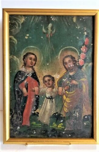 Antique 1850's Spanish Colonial Hand Painted Retablo of the Holy Family