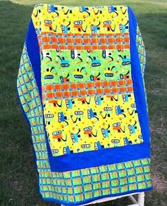 Baby or toddler minky quilt with trucks and diggers