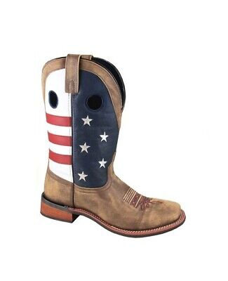 b3c34e261039 Smoky Women s 8 Red Blue American Flag Brown Leather Western Square Toe  Boots
