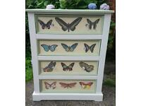 Stunning Large Butterfly Shabby Chic Storage Drawers Bedroom Furniture Unit
