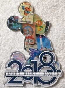 Disney Parks Mickey Mouse Silhouette Collage 2018 3D Acrylic Magnet