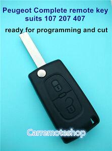 PEUGEOT 2 Button Remote Flip Transponder Key Suits 107 207 307 308 407 408
