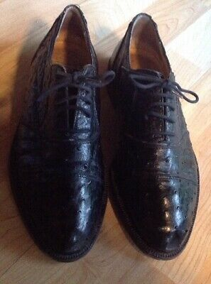 Womens 9-1/2 Vintage Genuine Ostrich Oxford Shoes, Black, Cesare Paciotti, -