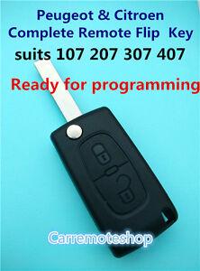 Citroen Peugeot 2 Button Remote Flip Transponder Key for 107 207 307 308 407 408