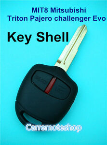 MIT8 Mitsubishi Triton challenger Evo Pajero 2 Button Remote Car Key Shell