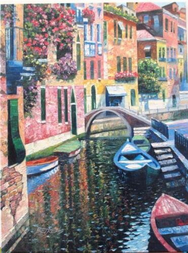 "Howard Behrens ""Romantic Canal"" Heavily Embell List $3750 HS#COA"