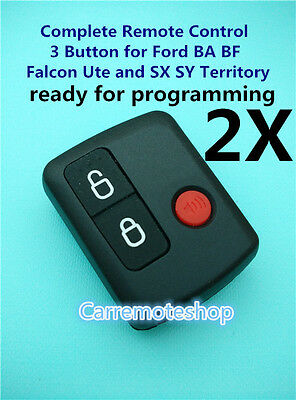 2x Ford 3 Button Keyless Entry Remote Falcon BA BF Ute Territory XR6 XR8 FPV