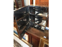 Mirrored Cabinet , with lock and key. sizes L 14 in D 6 in H18 in 2 for £60 0r £35 each..