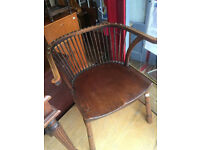 Wooden chair with studded top, In good condition , feel free to view free local delivery.