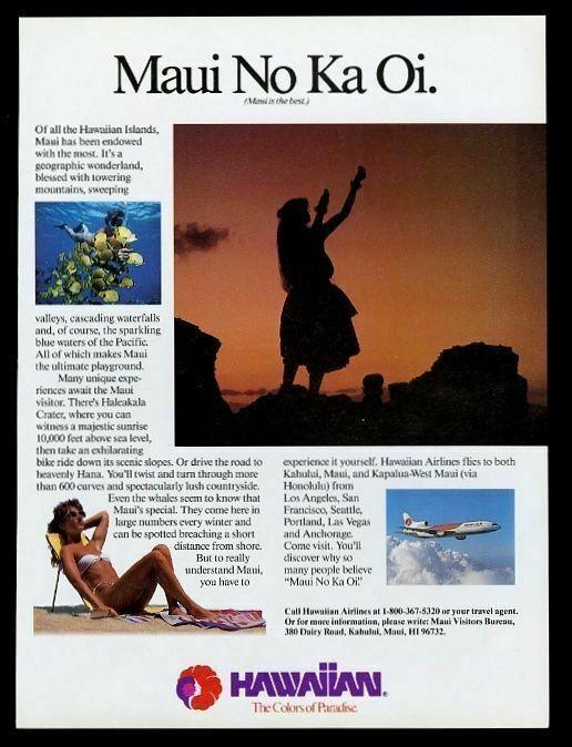 1988 Hawaiian Airlines Maui plane hula 4 color photo vintage print ad
