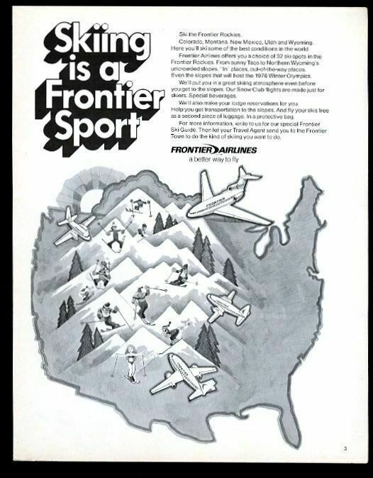 1970 Frontier Airlines USA Rocky Mountain skiing map art vintage print ad