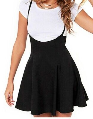 Women's Plus Size Halloween Costume Clubwear Black Suspender Skater Skirt 2X 3X