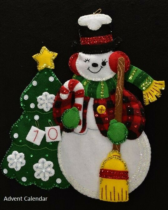 "NEW Handmade 18"" Bucilla Snowman Countdown ADVENT CALENDAR"