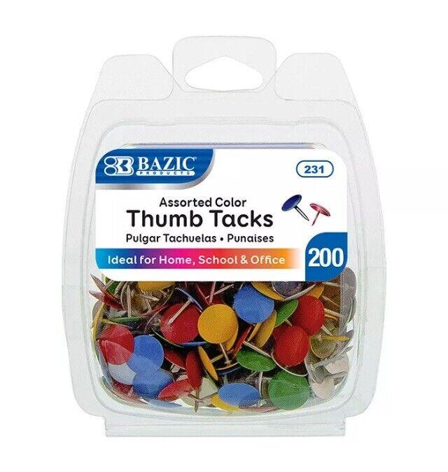 200 Assorted Color Push Pin Thumb Tacks Multi Color Head Office School
