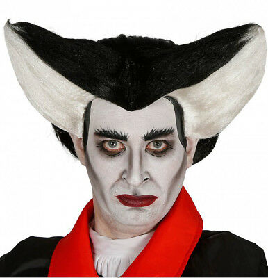 Big Silly Dracula Wig Black White Mens Fancy Dress Vampire Halloween Hair NEW (Black Man White Woman Halloween Costumes)
