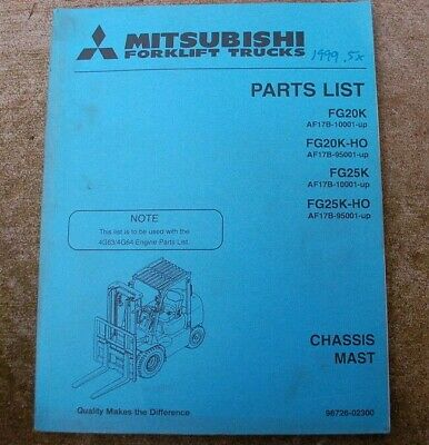 Mitsubishi Caterpillar Fg 2025k-ho Forklift Parts Manual Catalog Book Spare Cat