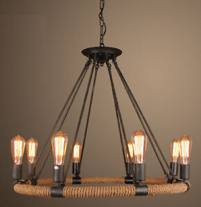 Industrial Farmhouse Iron Chandelier Light Edison Cafe Bar Restaurant Rustic Eight Ebay