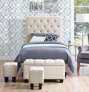 Contemporary upholstered Twin Bed with 3 Ottomans.