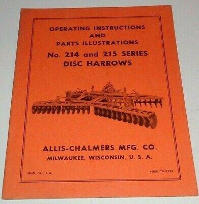 Allis Chalmers 214 215 Series Disc Harrow Operators Parts Manual Ac Original