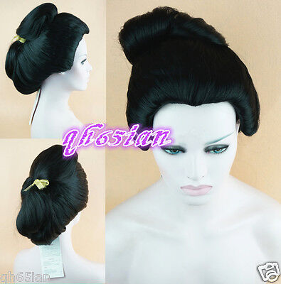2017 Black Japanese Geisha Hair Synthetic Daily Party Cosplay Wigs + Wig Cap (Geisha Wigs)