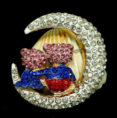Lovable Crescent MOON Hugging BEARS Rhinestone Retro Vintage Brooch Blue Red