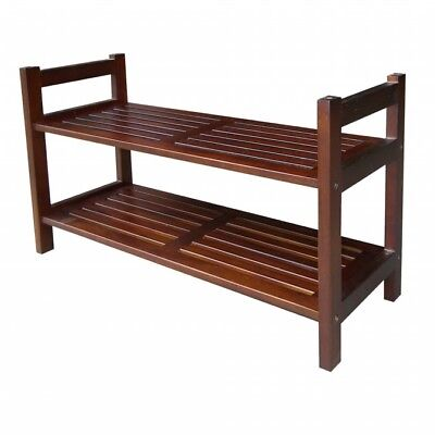 Ore International DSR001 15.5Two Tiers Stackable Shoe Rack - Mahogany