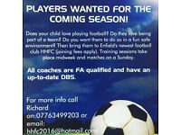 Youth football team in Enfield looking for new players!