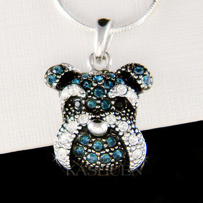 ~Schnauzer Terrier dog made with Swarovski Crystal Miniature Puppy Cute Necklace ()