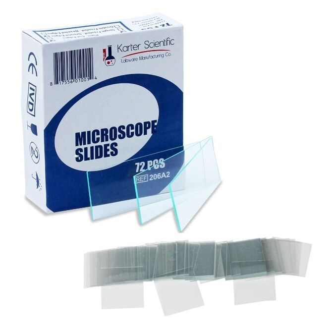 Karter Scientific 72 Blank Glass Microscope Slides plus 100 Square Cover Slips