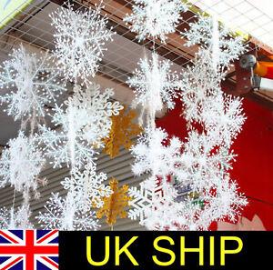 30 CHRISTMAS TREE FROZEN WHITE SNOWFLAKE HANGING DECORATION