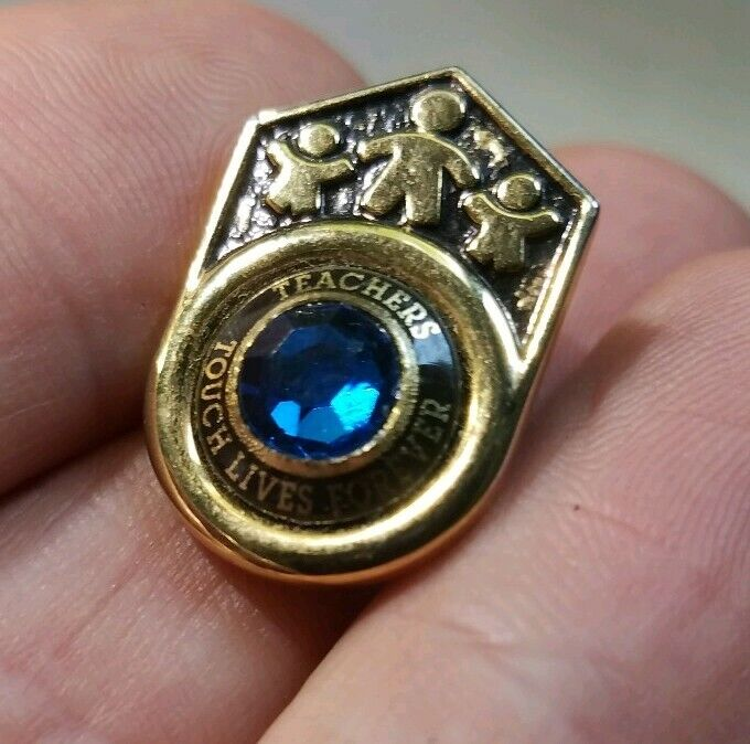 Teachers Touch Lives Forever Pin With Blue Stone