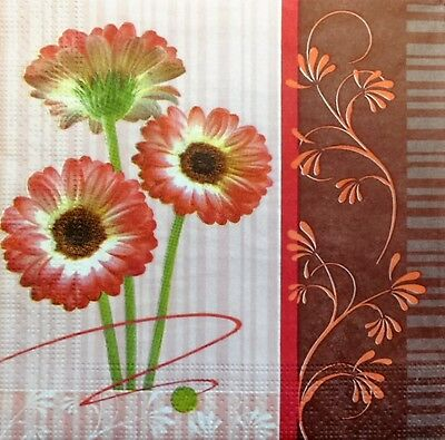 4 x Single  Paper Napkins Stripes Flowers for  DECOUPAGE and CRAFTING  9