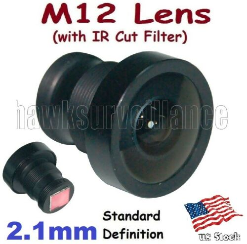 "Fisheye HD 2.1mm Boarb lens 1/2.5"" 150° Degrees M12* + IR Cut Filter for FPV"