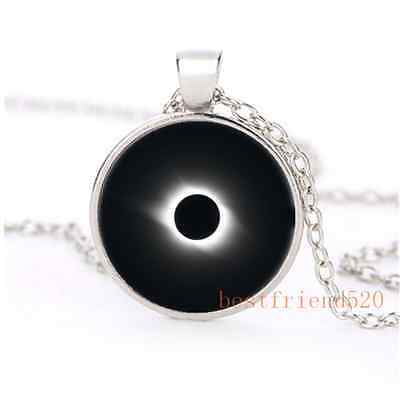 Rare Solar Eclipse Cabochon Glass Silver Plating Necklace Jewelry