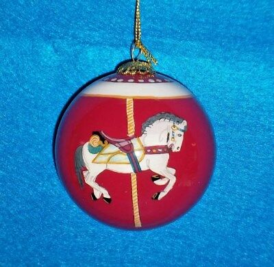 Hand Painted Glass Carousel (Hand Painted Glass Ornament Carousel Horse Red Ball Glass Ornament )