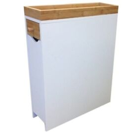 White and birch sturdy slimline bedside table/cabinet.