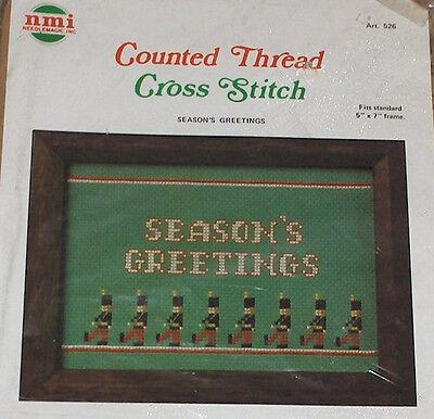Nmi Christmas Toy Soldiers  Seasons Greetings  Cross Stitch Kit Nip 5X7