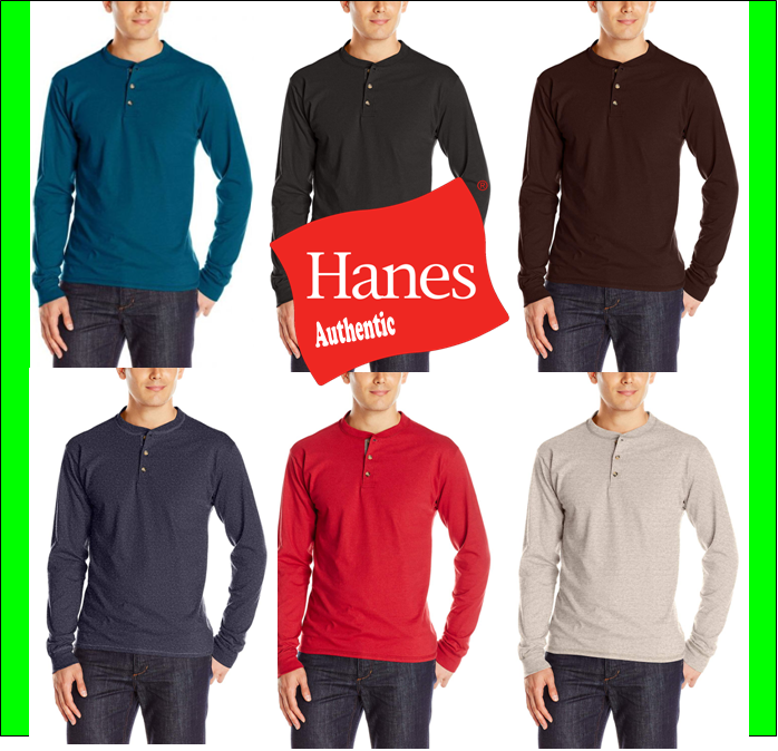 Hanes Men's Beefy-T Long-Sleeve Henley Shirt Beefy-T pure co