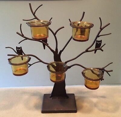 "Halloween Owl Tea-Light Tree 13x14""H Brown Cast Metal Tabletop/Mantle Great!!"