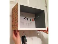 Box Shelf With Key Holder and Memo String