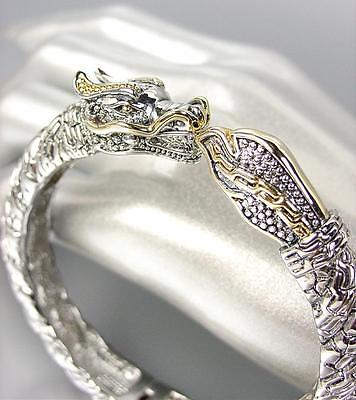 UNIQUE Designer Inspired Balinese Silver Cable Gold DRAGON Bangle (Designer Inspired Silver Cable Bracelet)
