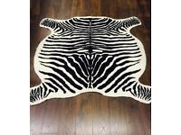 "Zebra Hide Rug Carpet - Faux Fur - Cream/Brown 120x140cm (47""x56"")"