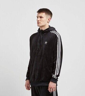 Adidas Velvet Full Tracksuit Black Velour Cozy Half Zip Hoodie And T Shirt M